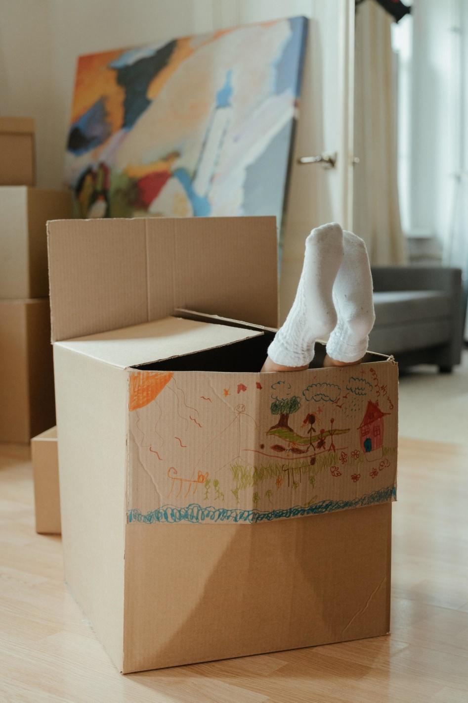 feet in a box